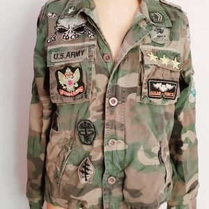Women's Camo Jacket Tons of Military Patches